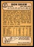 1968 Topps #521  Don Shaw  Back Thumbnail