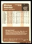 1983 Fleer #614  Mickey Hatcher  Back Thumbnail