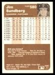1983 Fleer #580  Jim Sundberg  Back Thumbnail