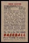 1951 Bowman #184  Eddie Sawyer  Back Thumbnail