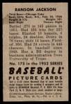 1952 Bowman #175  Ransom Jackson  Back Thumbnail
