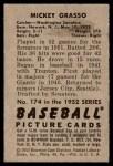 1952 Bowman #174  Mickey Grasso  Back Thumbnail