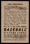 1952 Bowman #91  Don Kolloway  Back Thumbnail