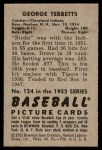 1952 Bowman #124  Birdie Tebbetts  Back Thumbnail
