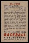 1951 Bowman #196  Bill Pierce  Back Thumbnail