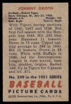1951 Bowman #249  Johnny Groth  Back Thumbnail