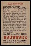 1951 Bowman #109  Allie Reynolds  Back Thumbnail