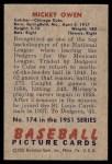 1951 Bowman #174  Mickey Owen  Back Thumbnail