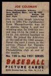 1951 Bowman #120  Joe Coleman  Back Thumbnail