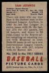 1951 Bowman #242  Sam Jethroe  Back Thumbnail