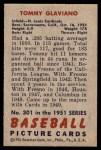 1951 Bowman #301  Tommy Glaviano  Back Thumbnail