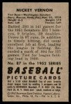 1952 Bowman #87  Mickey Vernon  Back Thumbnail