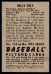 1952 Bowman #152  Billy Cox  Back Thumbnail