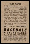 1952 Bowman #13  Cliff Mapes  Back Thumbnail