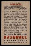 1951 Bowman #192  Hank Wyse  Back Thumbnail