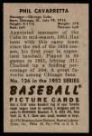 1952 Bowman #126  Phil Cavarretta  Back Thumbnail