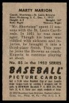 1952 Bowman #85  Marty Marion  Back Thumbnail