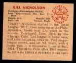 1950 Bowman #228  Bill Nicholson  Back Thumbnail