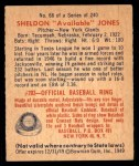 1949 Bowman #68  Sheldon Jones  Back Thumbnail