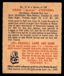 1949 Bowman #71  Vern Stephens  Back Thumbnail
