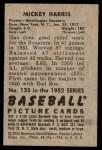1952 Bowman #135  Mickey Harris  Back Thumbnail
