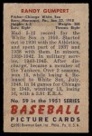1951 Bowman #59  Randy Gumpert  Back Thumbnail