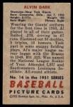 1951 Bowman #14  Al Dark  Back Thumbnail