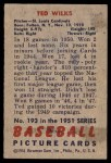 1951 Bowman #193  Ted Wilks  Back Thumbnail
