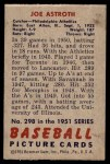 1951 Bowman #298  Joe Astroth  Back Thumbnail