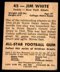1948 Leaf #45  Jim White  Back Thumbnail