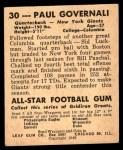 1948 Leaf #30  Paul Governali  Back Thumbnail