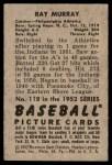 1952 Bowman #118  Ray Murray  Back Thumbnail