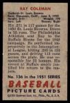 1951 Bowman #136  Ray Coleman  Back Thumbnail