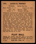 1940 Play Ball #197  Lou Finney  Back Thumbnail