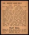 1940 Play Ball #142  Highpockets Kelly  Back Thumbnail