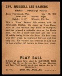 1940 Play Ball #219  Russ Bauers  Back Thumbnail