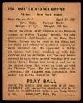 1940 Play Ball #154  Jumbo Brown  Back Thumbnail