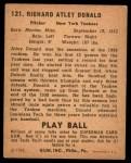 1940 Play Ball #121  Atley Donald  Back Thumbnail