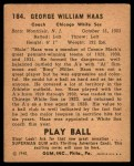 1940 Play Ball #184  Moose Haas  Back Thumbnail