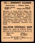 1948 Leaf #13 COR Johnny Lujack  Back Thumbnail