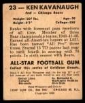 1948 Leaf #23 YEL Ken Kavanaugh  Back Thumbnail