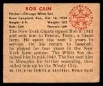 1950 Bowman #236  Bob Cain  Back Thumbnail