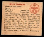 1950 Bowman #252  Billy DeMars  Back Thumbnail