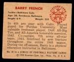 1950 Bowman #42  Barry French  Back Thumbnail