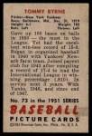 1951 Bowman #73  Tommy Byrne  Back Thumbnail