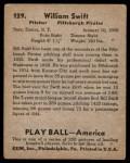 1939 Play Ball #129  Bob Swift  Back Thumbnail