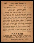 1940 Play Ball #157  Louis Chiozza  Back Thumbnail