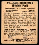 1948 Leaf #21  Paul Christman  Back Thumbnail