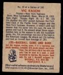 1949 Bowman #35  Vic Raschi  Back Thumbnail