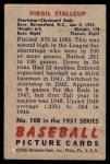 1951 Bowman #108  Virgil Stallcup  Back Thumbnail